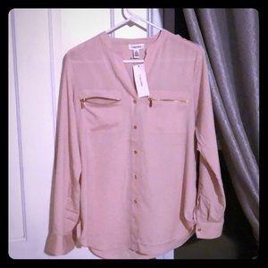Calvin Klein peach work blouse